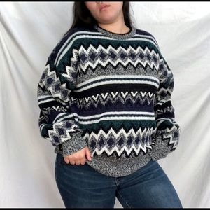 Vintage striped green and blue abstract sweater